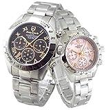 限定品 ペアウォッチ Don Clark Anne Clark カップル 腕時計 幸運のセブンダイヤモンド クロノグラフ 天然シェルダイヤル (ピンクゴールドローマ) 並行輸入品