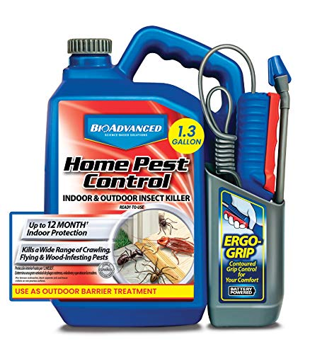 BioAdvanced 502798A Home Pest Control, Bug Spray and Insect Killer for Indoor and Outdoor, 1.3-Gallon, Ready-to-Use Battery Powered Sprayer