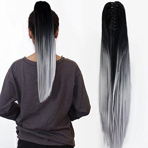 Neverland Beauty Clip Extensions de cheveux Claw on Bouclee queue de cheval longue ondulee Ombre Dip Dye Naturel Noir a Argent Gris