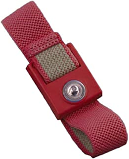 StaticTek WB1600 Series Anti Static ESD Accessories Single Wire Grounding Wrist Bands Woven Fabric Wrist Straps Only for ESD Work Surfaces - 10 pack, Maroon, 4mm Snap   TT_WB0026