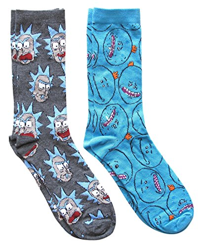Rick and Morty Mr. Meeseek's Pattern Men's Crew Socks 2 Pair Pack Shoe...