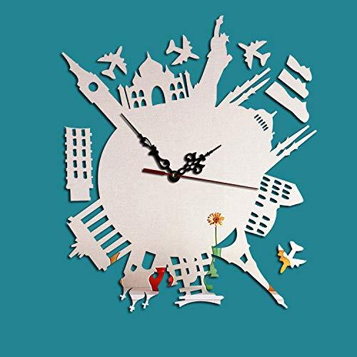 Creatieve One-Shaped Time-Mirror muur Plakken Woonkamer Office Stille Wandklok Home Decoratie Achtergrond Muur ZILVER