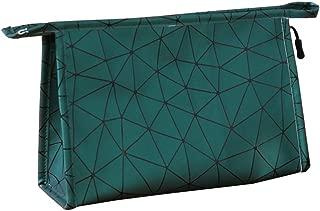 HOYOFO Portable Makeup Pouch Travel Clutch Zipper Purse Handy PU Toiletry Bags, Dark Green