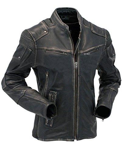 EU Fashions Mens Genuine Leather Biker Jacket Vintage Crinkle Retro