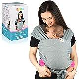 Fascia Porta Bebè in Cotone   Fascia Multiposizionamento Soffice e Resistente per bambini dalla nascita ai 15 kg - Fascia Elastica Kangaroo Care (Grey)