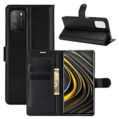 Fertuo Hülle für Poco M3, Handyhülle Leder Flip Hülle Tasche mit Standfunktion, Kartenfach, Magnetschnalle, Silikon Bumper Schutzhülle Cover für Xiaomi Poco M3 Smartphone, Schwarz