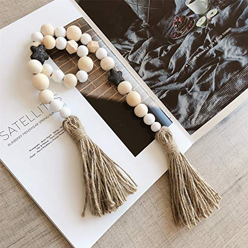 Shunyunfa Children's Room Decoration Wood Bead Garland Tassels Garland Wall Hanging Banner for Children's Baby Room Home Decoration (Black)