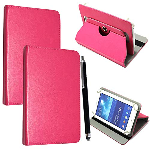 Mobile Stuff Universal 360° Rotational Colourful Various PU Leather Stand Case Cover Fits All 7' Inch Android Tablets tab devices + Free Stylus Pen (Universal 7'' pink)