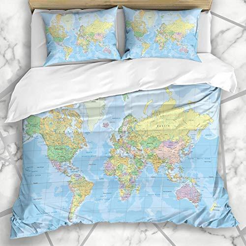 Bettbezug-Sets Afrika Blue Globe Politische Weltkarte Mercator Geographie Projektionsatlas Alle Länderdetails Ozean-Mikrofaser-Bettwäsche mit 2 Kissenbezügen Pflegeleicht Antiallergisch Weich Glatt