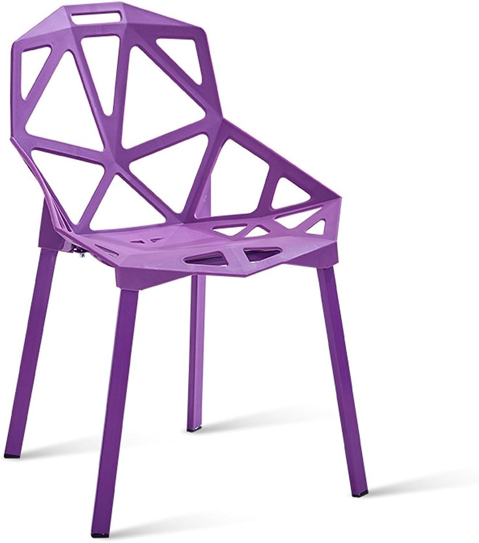 Backrest Stool Studio Coffee Shop Chair Fashionable Geometry Hollow Design Steel Pipe Chair Leg Thick Plastic Chair Surface orange Purple Black (color   Purple)