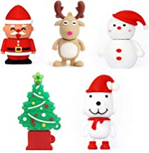 USB Drives for a Novelty USB Flash Drive Thanksgiving Memory Stick Santa Claus, Christmas Tree, Elk,Snowman, Dog(Pack of 5 8GB)