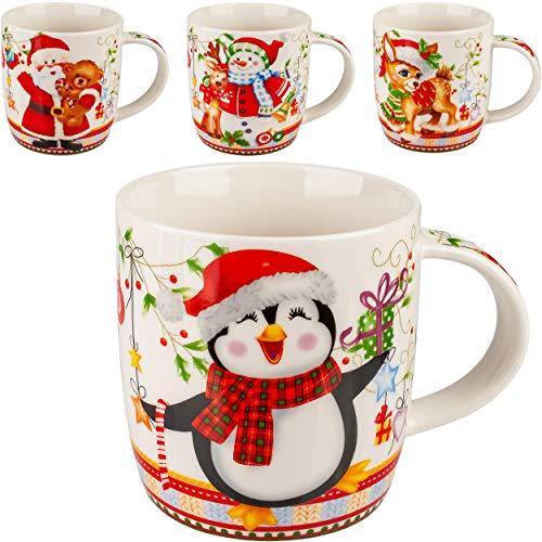 alles-meine.de GmbH 4 Stück _ Henkeltassen / Kaffeetassen - Motivwahl - Weihnachten & Winter - Mix - 350 ml - groß - Porzellan / Keramik - Weihnachtsmotiv - Weihnachtstasse / Glü..