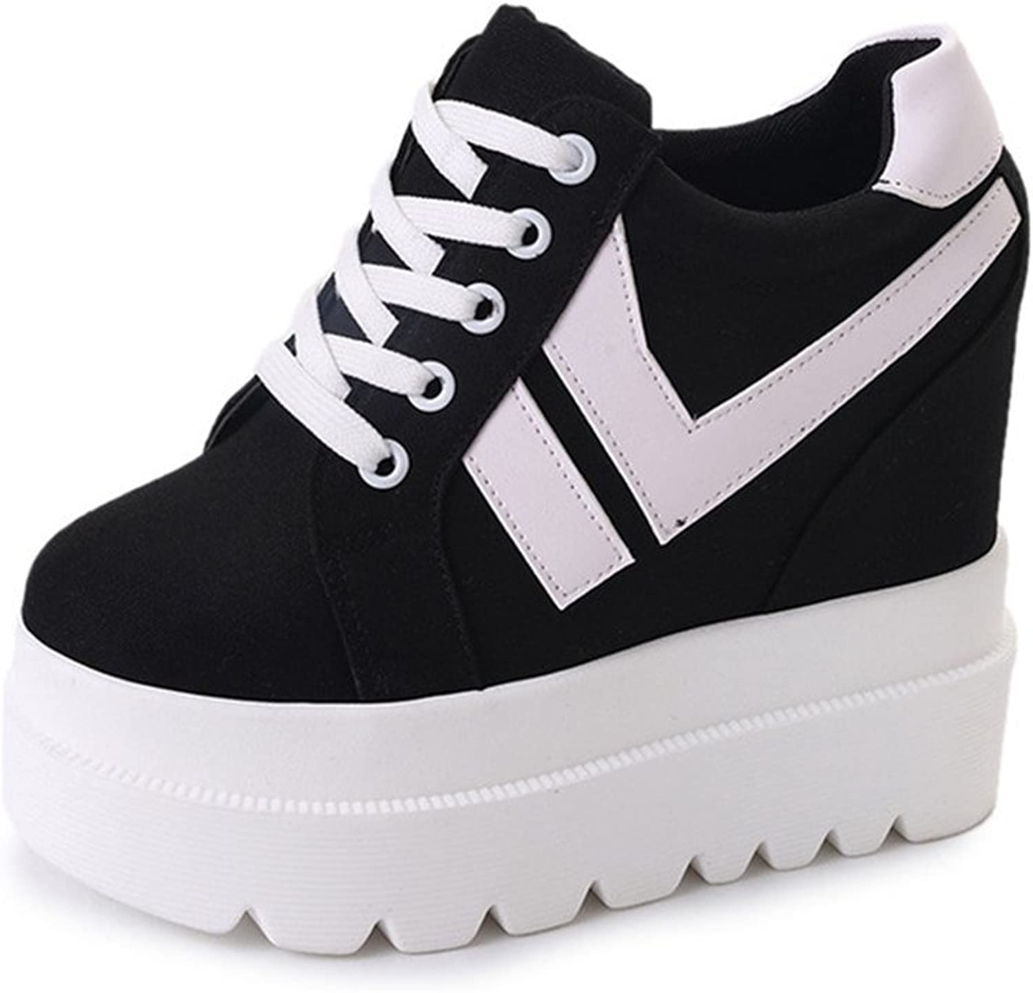 CYBLING Womens Height Increasing shoes Casual High Heel Fashion Sneakers