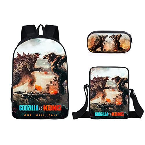 YCHH Nuevo Godzilla Vs.King Kong Bolsa De Escuela Primaria Circundante Estuche De Lápices De Una Capa Estuche De Poliéster Pequeño Paquete De Tres Piezas