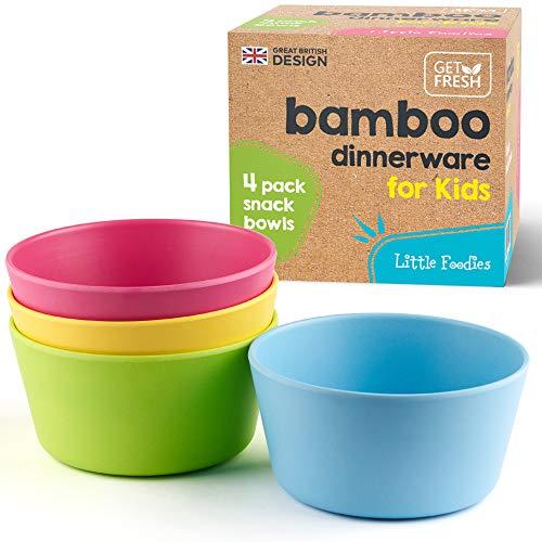 GET FRESH Les Bols a Collation en Bambou pour Enfants - Pack de 4 Réutilisable Bols Bambou Bébé - Lave-vaisselle Coffret Vaisselle Bébé Bambou - Bamboo Kids Snack Bolws Set
