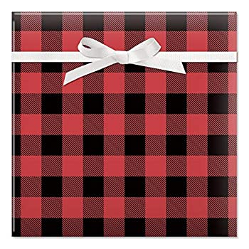 Buffalo Plaid Christmas Rolled Gift Wrap - 1 Giant Roll 23 Inches Wide by 32 feet Long Heavyweight Tear-Resistant Holiday Wrapping Paper