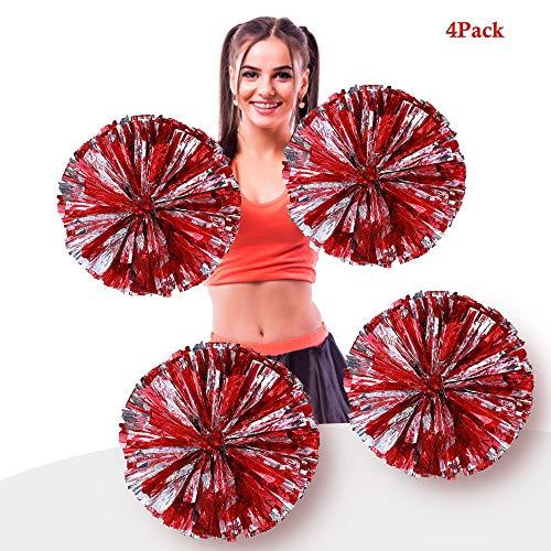 AUHOTA 4 Stück Metallfolie Cheerleading Pom Poms, Cheerleader Pompons Handblumen zum Sport Cheers Ball Dance Kostüm Nacht Party Team Spirit (6 Zoll) (Rot/Silber)