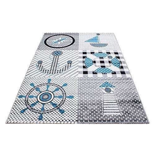 Kinderteppich Kinderzimmer Babyzimmer Spielteppich Pirat Design Grau Blau Oeko Tex, Maße:120x170 cm