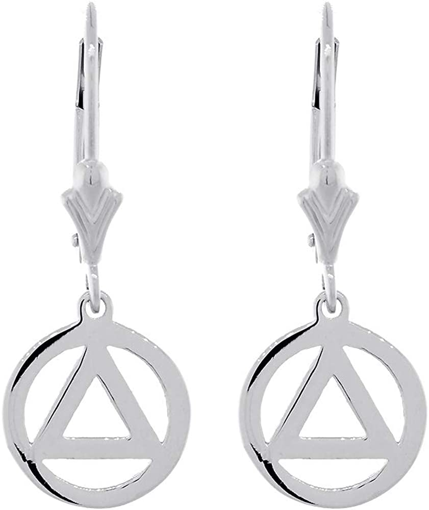 10mm AA price Alcoholics Anonymous Sobriety Charm Lever Earrings excellence Back