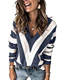 Elapsy Womens Ladies Casual Autumn Winter Stitching Contrast Color Block V Neck Pullover Sweater Jumper Top Outfit Blue M