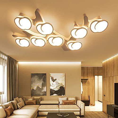 LED Moderne Plafond Lamp Woonkamer Lamp Creatieve 5-Flame Apple Vorm Wit Metaal Decoratieve Indoor Lamp Acryl Scherm voor Slaapkamer Eetkamer Plafond Verlichting, \\ u0026 Oslash; 56CM50W Warm Licht