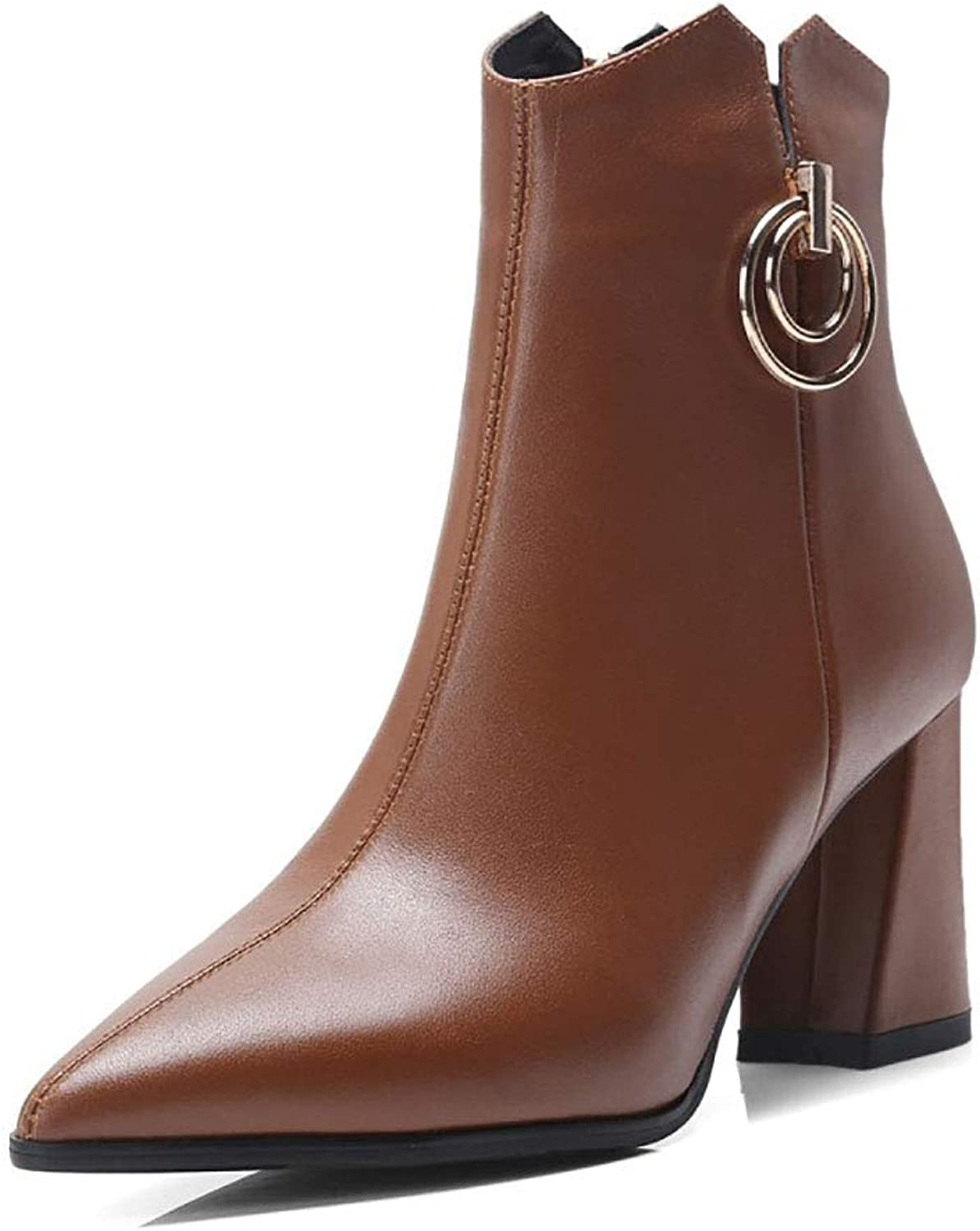Women's Booties Leather Fleece Lined Pointed Thick high Heel Martin Boots Side Zipper Metal Decorative Ankle Boots Winter
