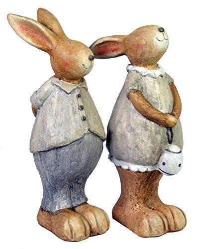 CHICCIE osterhasenpärchen - 2 Set - 16cm - Pâques Déco Figurines Lapin de Pâques Printemps - 53cm