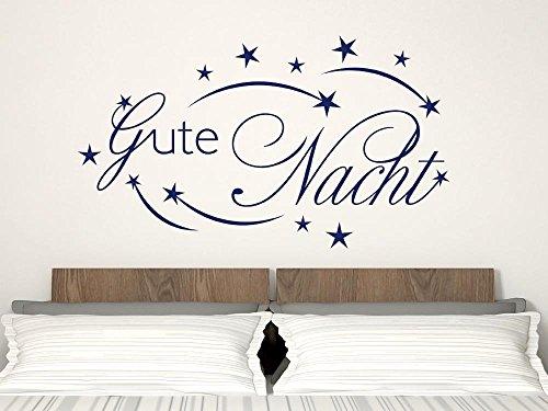 GRAZDesign Schlafzimmer Wandtattoo Gute Nacht, Home Dekoration modern Sterne Sternschnuppe, Wandtattoo Schriftzug Wand über Bett / 52x30cm / 070 schwarz