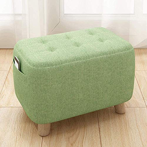 ZCM Foot Stool Round Pouffe Ottoman Foot Rest,upholstered Pouf Small Seat Foot Rest Chair Home Office Real Wood Legs Stands(Color:C,Size:42x25x27cm(17x10x11inch))