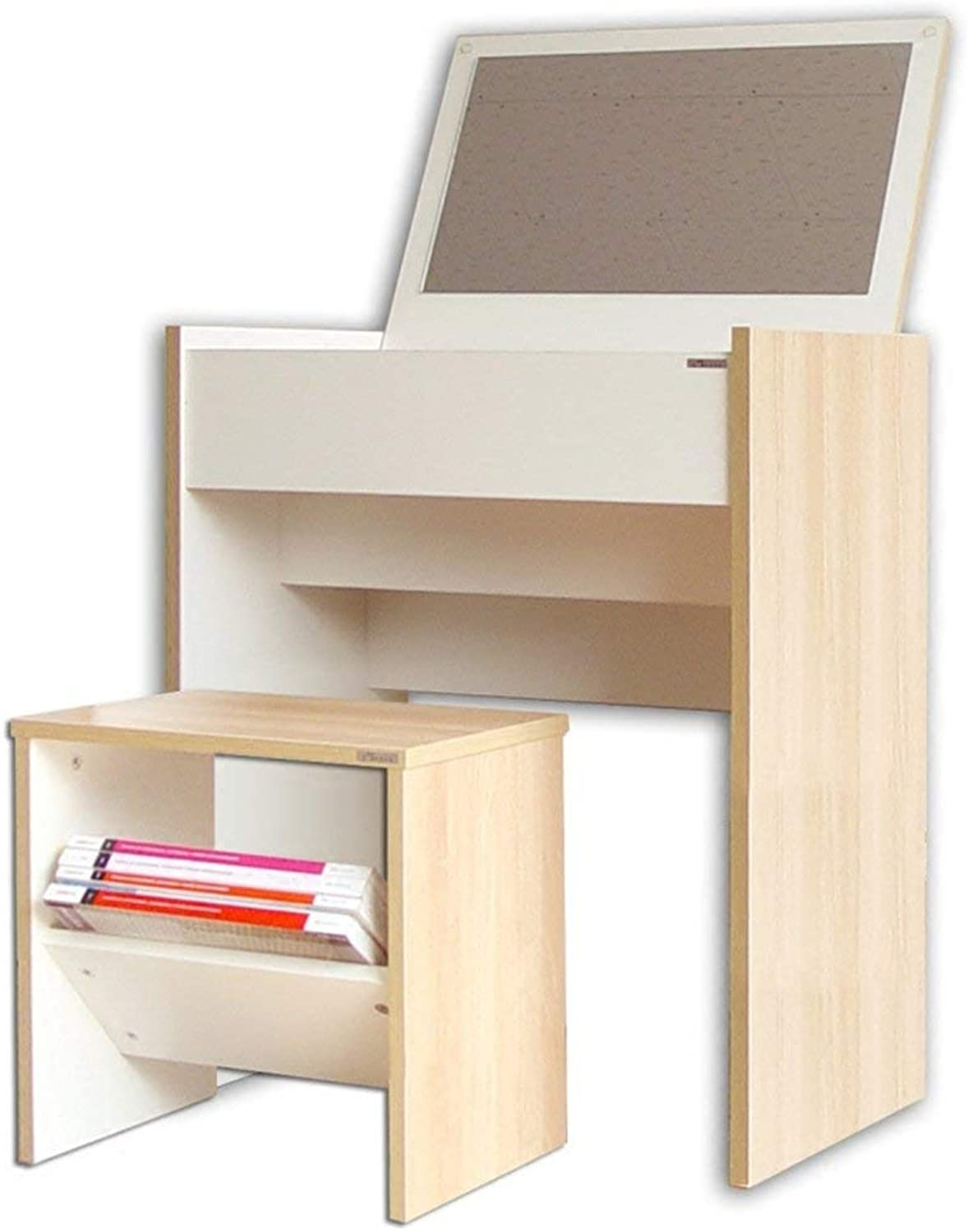 GUI Lazy Table Wooden Dressing Table and Padded Stool with Flip up Mirror