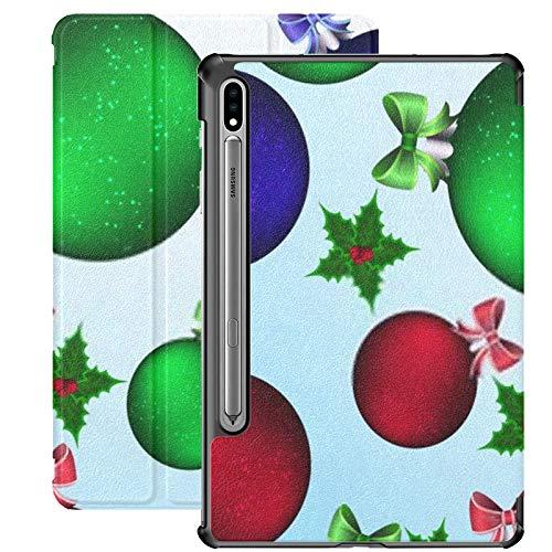 Funda Galaxy Tablet S7 Plus de 12,4 Pulgadas 2020 con Soporte para bolígrafo S, Bolas de árbol de Imagen navideñas Patrones sin Costuras Funda Protectora Delgada con Soporte para Samsung