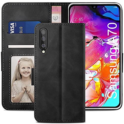 YATWIN Handyhülle Samsung Galaxy A70 Hülle, Klapphülle Samsung Galaxy A70 Premium Leder Brieftasche Schutzhülle [Kartenfach][Magnet][Stand] Handytasche für Samsung Galaxy A70 Case, Schwarz