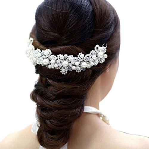 Tonsee Weiße Imitation Perle Kristall Braut Kopfschmuck Hochzeit Kleid Accessoires Braut Haarschmuck