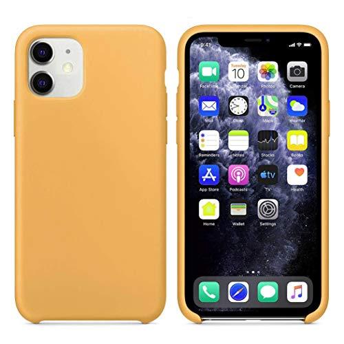 Funda Silicona para iPhone 11 Silicone Case, Calidad, Textura Suave, Forro Interno Microfibra (Amarillo)