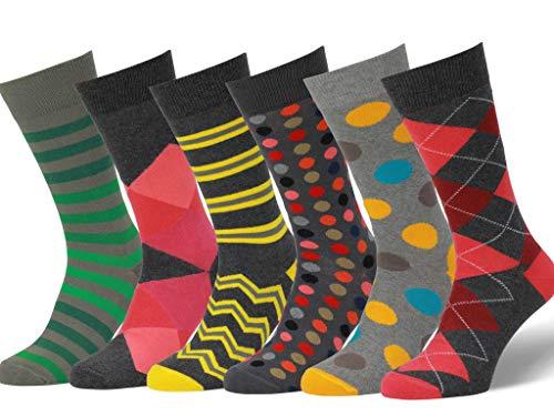 Easton Marlowe Sokken - Gekleurde Sokken Heren Dames 6 Paar - Colorful Happy Fun Socks - Vrolijke Herensokken Sokken Mannen Kinderen 6 Pack Katoen