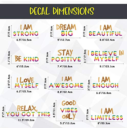 Positive Quotes Wall Decor - Inspirational Rainbow Gold Stickers, Motivational for Kids Teens Home Bedroom Bathroom Kitchen Classroom Playroom, Set of 12