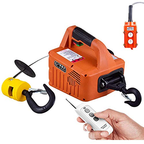 Hoist Electric Winch Electric Lifting Traction Hoist 3 in 1 Wireless Control 7.6m/25ft Wire Control Manual Control Overhead Lift 1500W with Overload Protection Orange Color 110V (500kg)