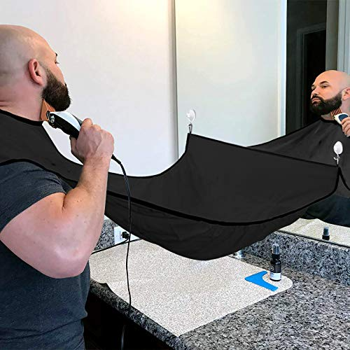 Beard Bib Beard Apron Cape for Men Trimming and Shaving, Waterproof and Non-Stick Hair Beard Clippings Catcher Bib with 4 Suction Cups,Best Gift for Man/Husband/Boyfriend (Black)
