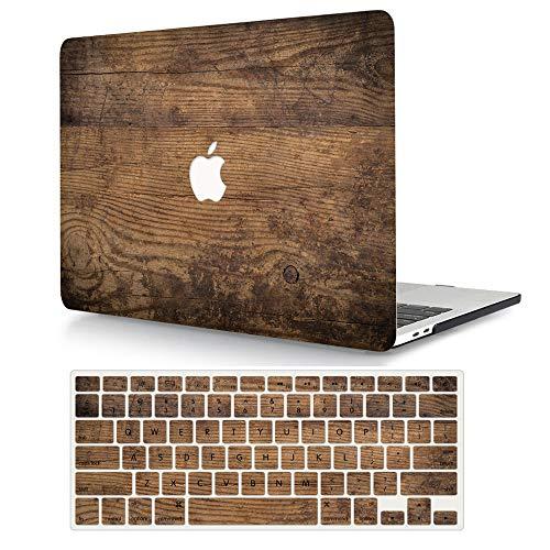 AJYX Custodia MacBook PRO 15 Pollici 2019 2018 2017 2016,Plastica Cover Rigida Copertina & Tastiera Cover per MacBook PRO 15,4 con Touch Bar(Modello: A1707/ A1990) - Venatura del Legno