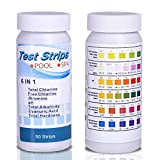 Multifunctional 6-in-1 Swimming Pool Test Paper Water Tester Strips For PH, Total Chlorine