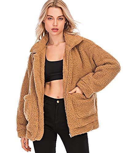 Puedo Women's Coat Casual Lapel Fleece Fuzzy Faux Shearling Zipper Coats Warm Winter Oversized Outwear Jackets (Camel,S)