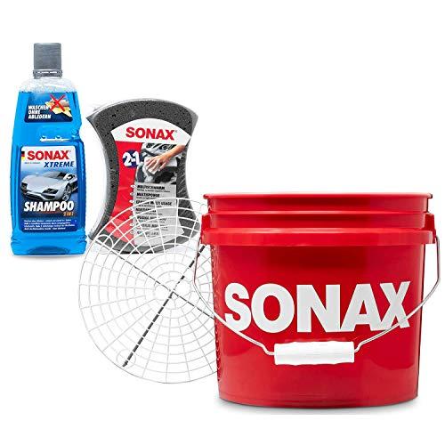 Detailmate - SONAX Auto Handwäsche Set: Sonax GritGuard Wascheimer, 13 Liter rot (3,5 Gallonen) + GritGuard Schmutz Einsatz + Sonax Xtreme Auto Shampoo 2in1 + Sonax Multischwamm