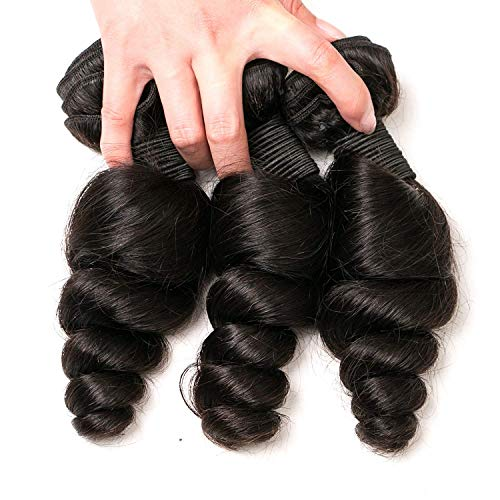 DAIMER Peruvian Hair Bundles Loose Wave Natural Color 20 22 24 Inch Sew in Real Human Hair Extensions 10A Grade for Black Women