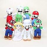 xunlei Super Mario Juguetes 8pcs / Conjunto Odyssey Muñeca En Vestido De Novia Traje De Novio Princesa Melocotón Peluche Muñeca Regalo