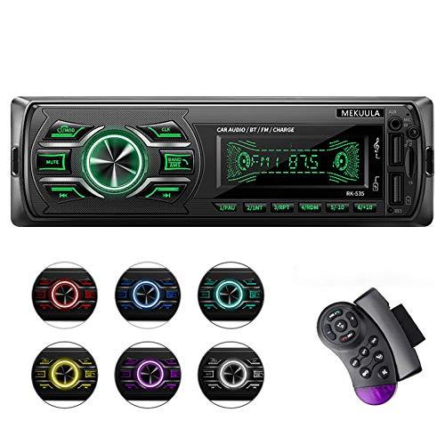 MEKUULA Autoradio mit Bluetooth Freisprecheinrichtung, Stereo Auto Radio 4 x 60W FM Radio Sopport MP3 / AM/USB/WMWAV/TF-Media Player + Fernbedienung 7 Farbe
