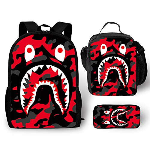 EELMOOR Bape Shark Teeth Red Camo Backpack School Bag Travel Daypack 3 Sets for Boys/Girls