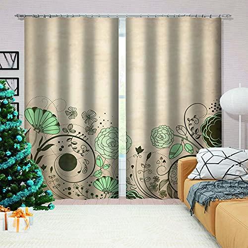 LJUKO Cortina Opaca en Cocina el Salon dormitorios habitación Infantil 3D Impresión Digital Ojales Cortinas termica - 264x210 cm - Simple Verde Plantas Flores.
