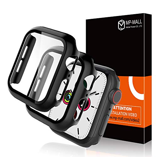 MP-MALL 【2 Pack】 Apple Watch Case for 44mm Series 4/5 Tempered Glass Screen Protector Cover, Full Protection Hard PC Protective Case for iWatch 44mm