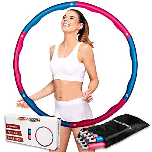 ActiveVikings Hula Hoop Reifen Ideal für Fitness, Gewichtsreduktion und Massage, 6-8 Segmente Abnehmbar - für Erwachsene & Kinder (Blau)