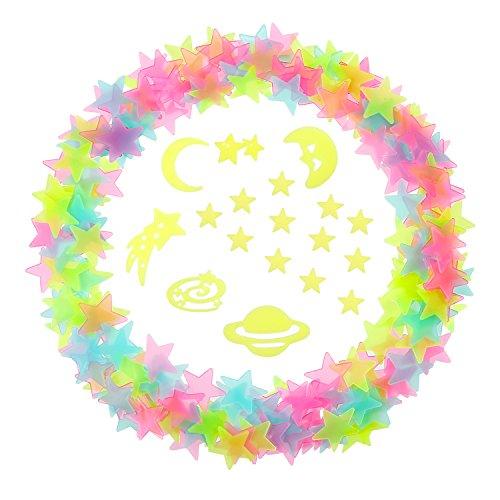 Hicarer 3D Sterne Leuchten Stern Schimmern Universum Aufkleber mit Doppelseitigen Klebepunkte, 212 Stück